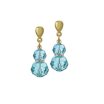 Eternal Collection Echo Aquamarine Austrian Crystal Gold Tone Drop Pierced Earrings