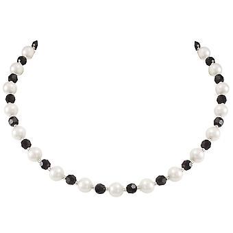 Evige samling Romanza hvid Shell Pearl og Jet sort østrigske krystal halskæde
