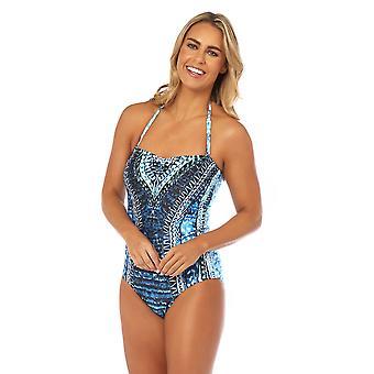Seaspray SY007776 Women's Sophia blauw veelkleurige Azteekse print kostuum een stuk Sweetheart lange lengte Bandeau badpak