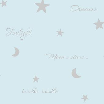 Twilight Wallpaper Teal Metallic Shiny Silver Moon Stars Feature Wall Arthouse