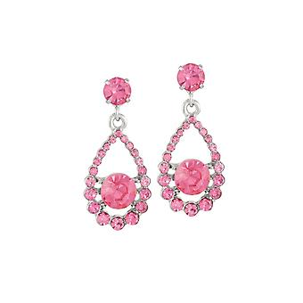 Eternal Collection Romance Rose Pink Crystal Silver Tone Drop Clip On Earrings