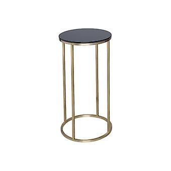 Gillmore Black Glass And Gold Metal Contemporary Circular Lamp Table
