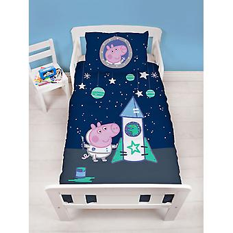Peppa Pig George Boom 4 in 1 Junior Bettwäsche Bundle (Bett, Kissen,