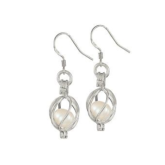 Eternal Collection Spellbound White Freshwater Pearl Sterling Silver Drop Pierced Earrings