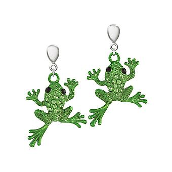 Eternal Collection Fred The Frog Green Crystal Silver Tone Drop Clip On Earrings
