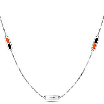 Oklahoma State University Sterling Silver Engraved Triple Station In Necklace Black and Orange