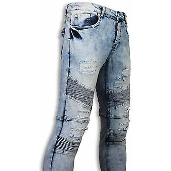 Holed Ripped Jeans - Slim Fit Biker Jeans Fluted Knee - Blue
