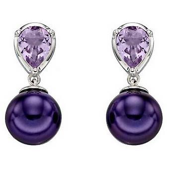 Elementos De oro perla y pendientes de amatista - púrpura / plata