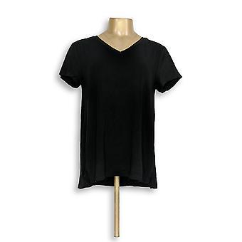 H by Halston Women's Top Essentials V-Neck Forward Black A306231 #0