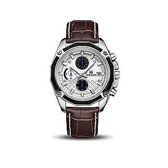 Megir Mens Homage Quartz Analogue Watch Silver Brown Date Smart Watches Leather