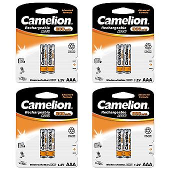8x Camelion rechargeable batteries AAA NiMH 800mAh battery