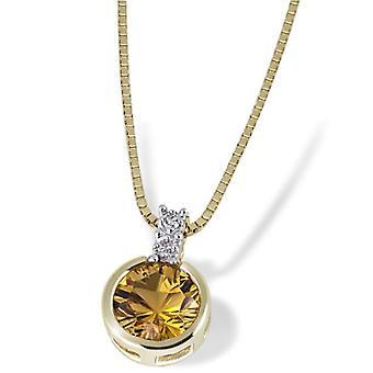 Goldmaid vrouwen ketting geel goud ronde gele diamant 6,9 millimeter