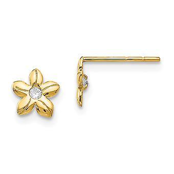 14k Gul Guld polerad CZ Cubic Zirconia Simulerad Diamond Flower Post Örhängen Smycken Gåvor för kvinnor