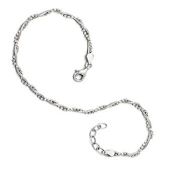 925 Sterling Silver Textured Polished Fancy Lobster Closure Adjustable Anklet (9 10) Inch Jewelry Gifts for Women