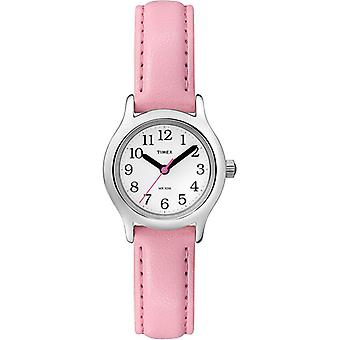 Timex Kids Watch White Dial Analog display and Pink Leather Strap (T79081) Timex Copii Uita-te la White Dial analog display și roz din piele curea (T79081)
