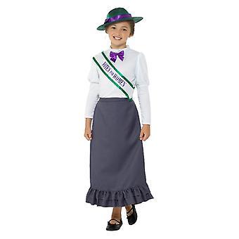Meisjes Victoriaanse Suffragette Fancy Dress kostuum