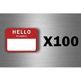 100 Autocollant Sticker Vintage USA Hello My Name Is Identification Fete Mariage