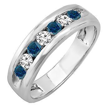 Dazzlingrock Collection 0.85 Carat (ctw) 14K Round White & Blue Diamond Mens Anniversary Wedding Ring, White Gold