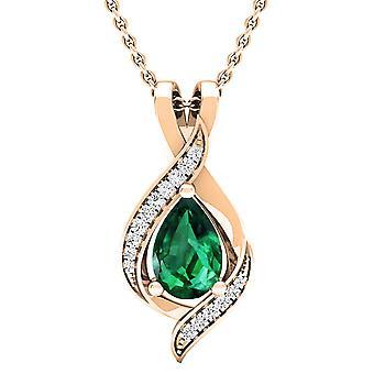 Dazzlingrock Collection 18K Pear 9X6 MM Lab Created Emerald & Round Diamond Ladies Pendant, Rose Gold