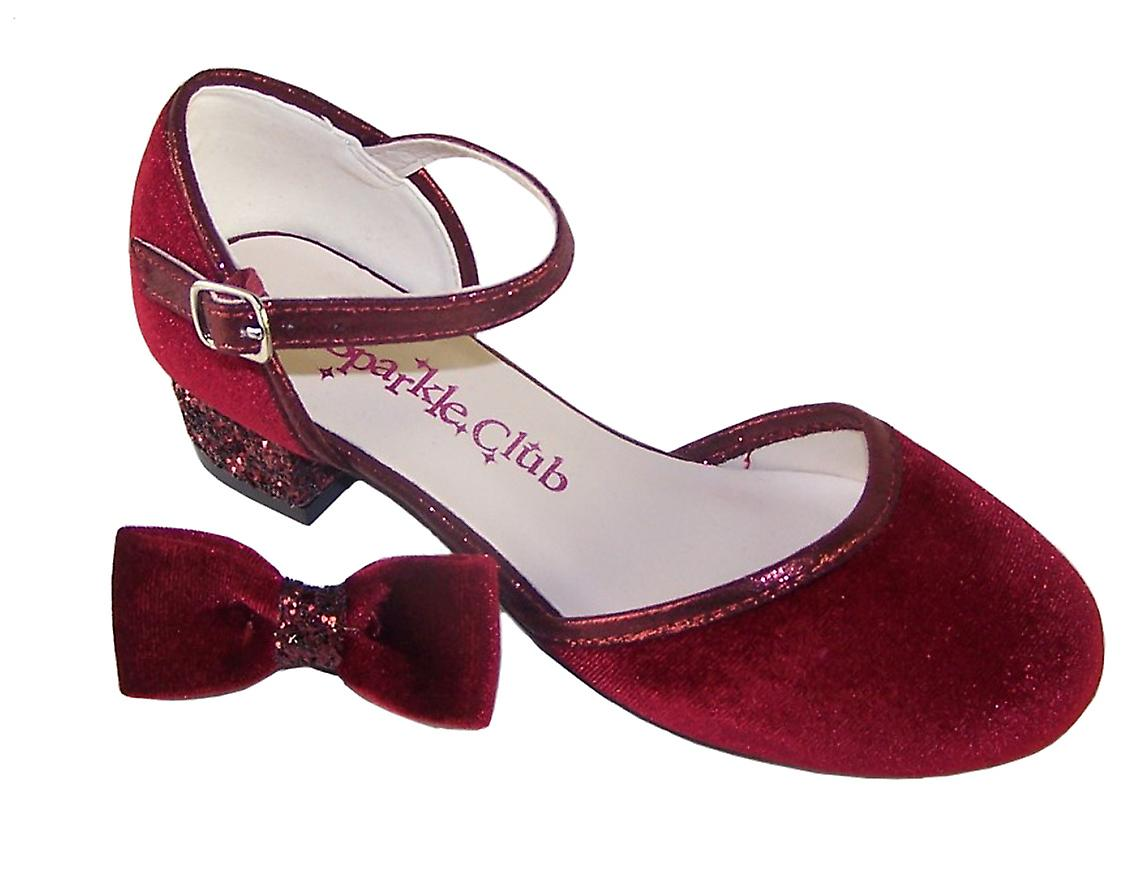 Girls deep red velvet sparkly low heeled party shoes