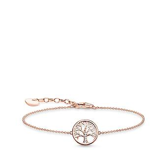 Thomas Sabo Sterling Silver Thomas Sabo Rose Gold Tree Of Love Bracelet A1828-416-14-L19v
