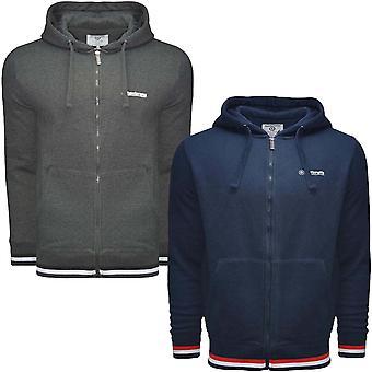 Lambretta getipt mens casual lange mouw zip van Hooded jumper Hoody hoodie top