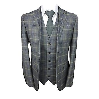 Paul Andrew Mens Tailored Fit Blue Grey & Gold Check Suit