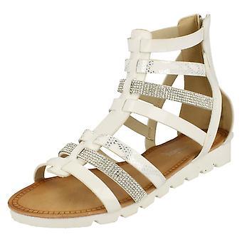 Womens Savannah Low Wedge Diamante Trim Gladiator Sandal