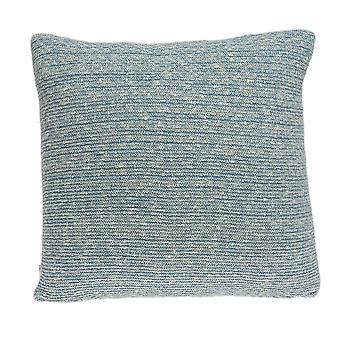 """20"""" x 0.5"""" x 20"""" Transitional Blue Cotton Pillow Cover"""