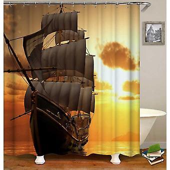 Sunset Sailing Ship Shower Curtain