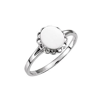 14k White Gold Oval Signet Ring Size 6 Jewelry Gifts for Women - 1.9 Grams