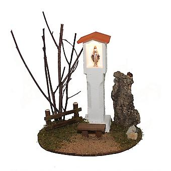 Krippenzubehör Krippenstall WEGMADONNA Kapelle mit Bank Beleuchtung
