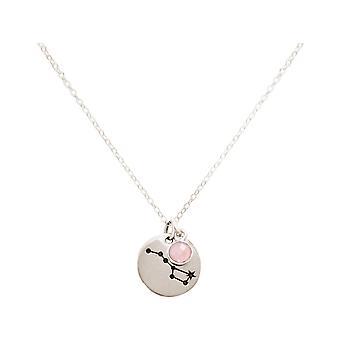 Colar da constelação urso grande, carruagem 925 prata, ouro chapeado, quartzo cor-de-rosa cor-de-rosa