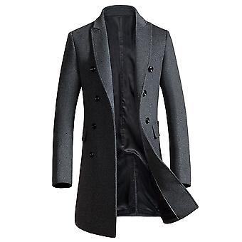 Allthemen Miesten villaa trenssi pitkä Slim Fit Double rinnakkaisryhmitelmällä paksuuntua trenchcoats takki talvi lämmin päällys vaatteet