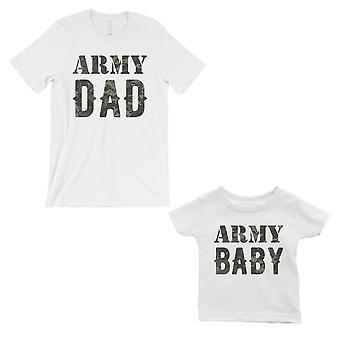 الجيش أبي الجيش الطفل أبي والطفل مطابقة هدية تي شيرت وايت رعاية