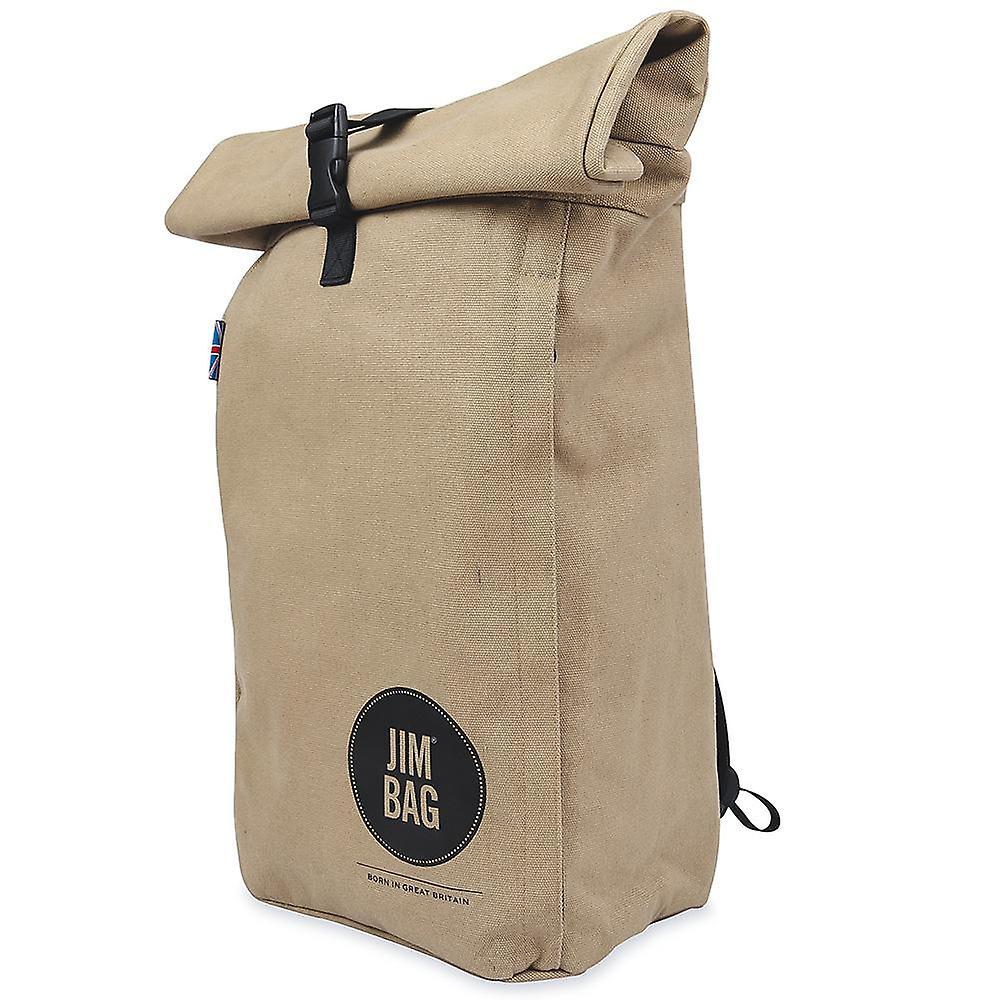 JIMBAG Camel & Black Travel Fitness Gym Rolltop Outdoor Waterproof Backpack Bag Fits Laptop