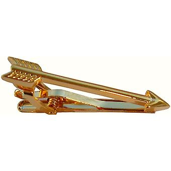 Bassin and Brown Arrow Tie Bar - Gold
