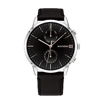 Tommy Hilfiger horloge 1710406-multifunctionele ronde stalen kast zwart lederen armband zwart leer