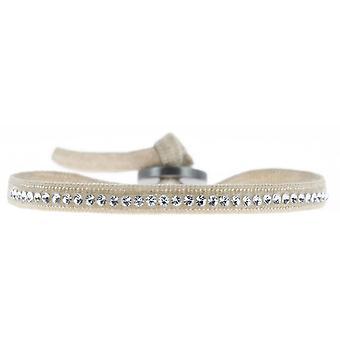 Bracelet interchangeable A31424 - fabric Beige woman Swarovski crystals Bracelet