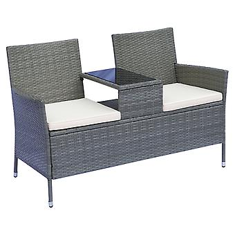 Outsunny 2 Seater Rattan Campanion Chair Wicker Loveseat Outdoor Patio Armchair with Drink Table Garden Furniture - Grey