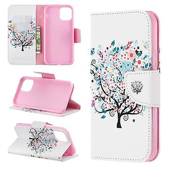 Colored Drawing Pattern Folio Leather Case for iPhone 11 Pro,with Holder,Card Slots,Walle,Tree