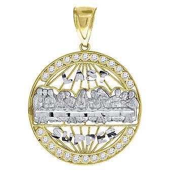 10k Oro Due Toni C'Dc Uomo Ultima Cena Altezza 43.1mm X Larghezza 31.4mm Fascino Religioso Cartono Collana Gioielli Gioielli per