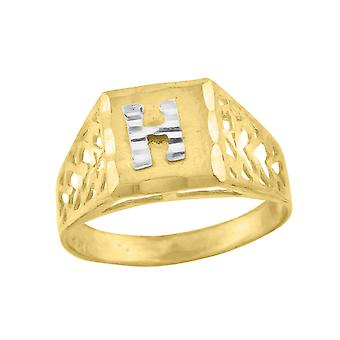10k Two tone Gold baby for boys or girls Initial H Band Ring  Measures 6.6x3.50mm Wide  Size 5.5