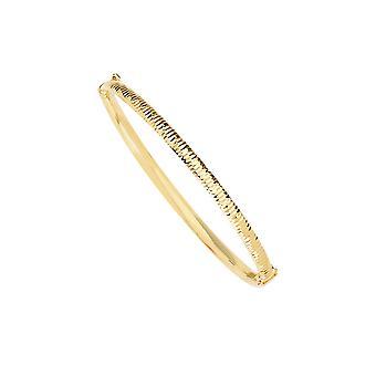 14k Gul Guld Fancy Sparkle Cut Puffed Tube Gångjärn Manschetten stackable armband 7 tums smycken gåvor för kvinnor