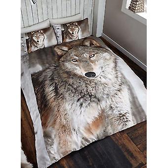 3D Wolf Doppel Bettbezug und Kissenbezug Set