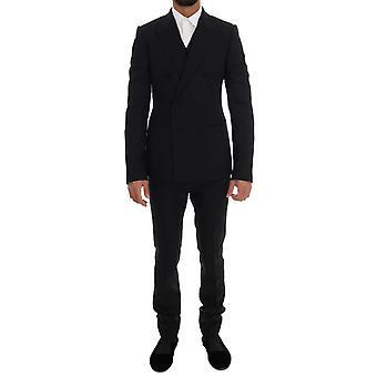 Dolce & Gabbana Musta 98% Villa Stretch Kaksinkertainen rinnakkaisryhmitelty 3-osainen puku