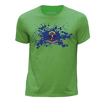 STUFF4 Boy's Round Neck T-Shirt/USA State/North Dakota Flag Splat/Green