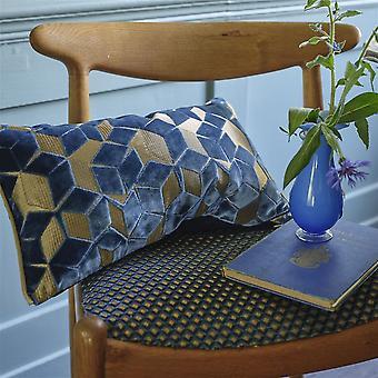 Designers Guild Fitzrovia Geometric Cushion In Cerulean Blue
