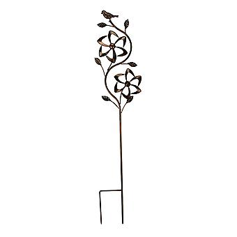 Bronze Finish Metal Art Flower Double Spinner Wind Sculpture Garden Stake, Angles