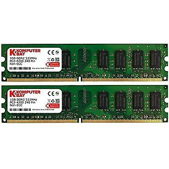 Komputerbay 2GB 2X 1GB DDR2 533mHz PC2-4200 PC2-4300 DDR2 533 240 pin DIMM Desktop Memory